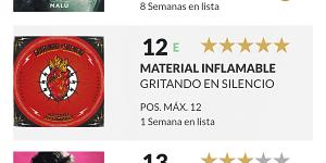 'Material Inflamable', el disco más vendido de rock en español